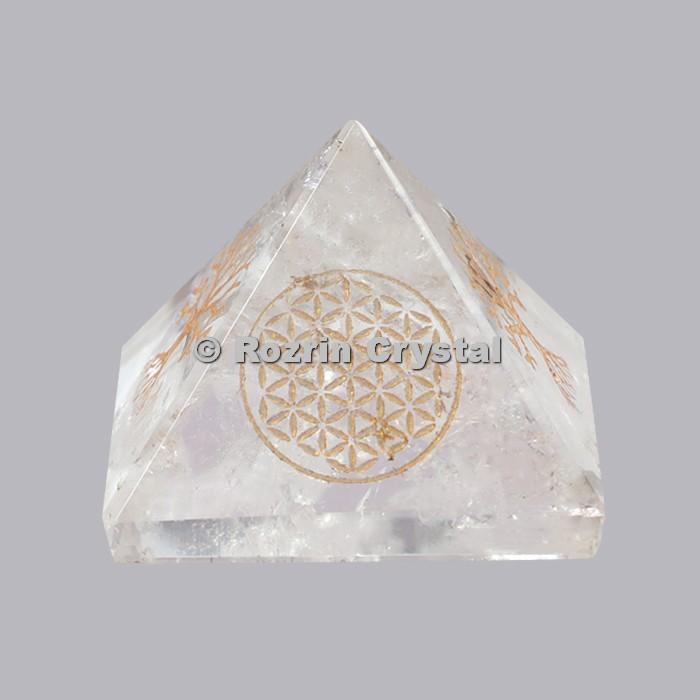 Crystal Quartz Flower Of Life Healing Pyramid