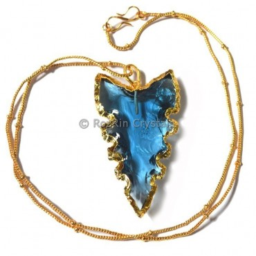 Blue Glass Curved Electropalted Necklace