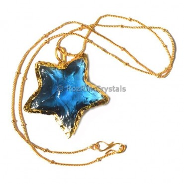 Blue Glass Star Electroplated Necklace