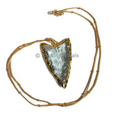 Aqua V Shape Electroplated Necklace