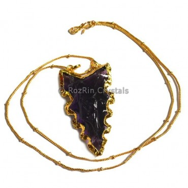 Purple Glass Curved Electroplated Necklace