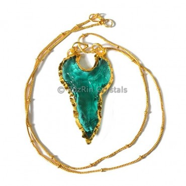 Aqua Glass Moon Shape Electroplated Necklace