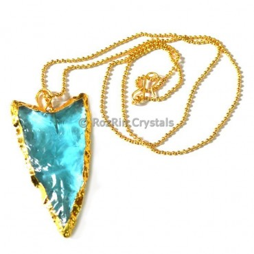 Aqua V Shape Electroplated Necklaces