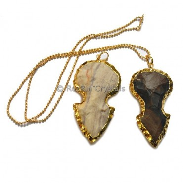 Round Agate Arrowheads Electroplated Necklace