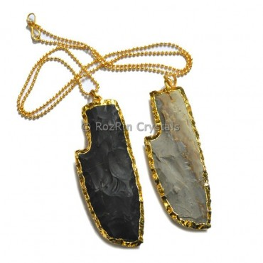 Knife Agate Arrowheads Electroplated Necklace