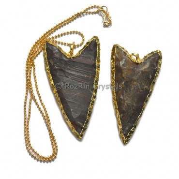 V Shape Agate Arrowheads Electroplated Necklace