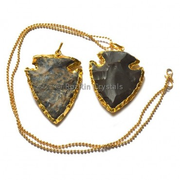 Fish Shape Agate Arrowheads Electroplated Necklace