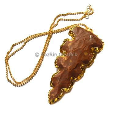 Nice Curved Agate Arrowheads Electroplated Necklace