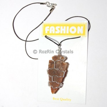 Jasper Wire Wrap Arrowheads Necklace