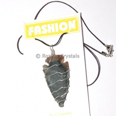 Silver Wire Wrap Arrowheads Necklace