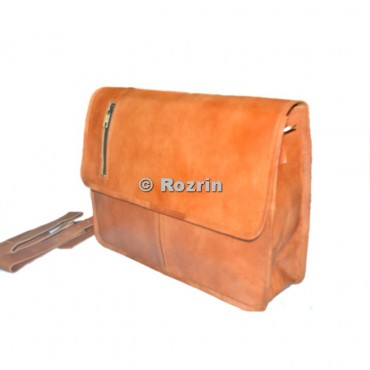 TWO POCKET FLAP CHAIN LEATHER BAG