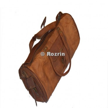 ROUND DUFFEL 3 POCKET LEATHER BAG