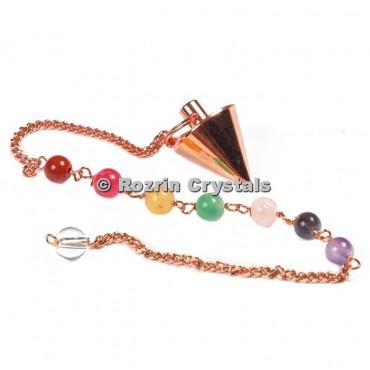 Brass Copper Cone Pendulums With Chakra Chain