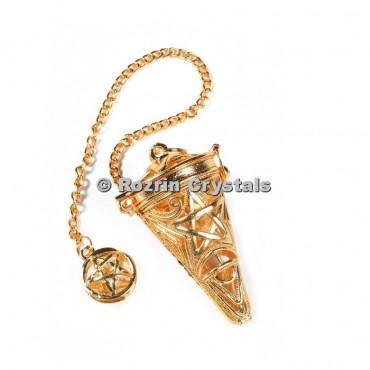 Pentagram  Brass Gold Cage Pendulums