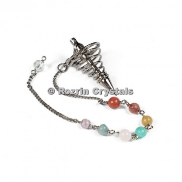 Brass Metal Divination Spring Pendulums With Chakra Chain