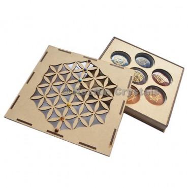 Chakra Engraved Stone Flower Of Life Gift Box