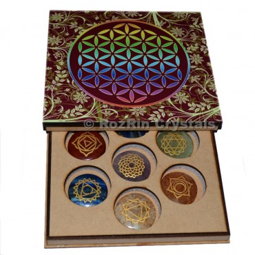 Chakra Engraved Stone colouring Flower Of Life Gift Box