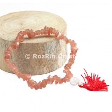 Indian Peach Moonstone Chips Power Bracelets