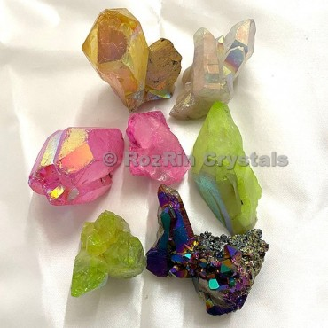 mix Aura Quartz Clusters
