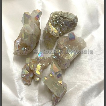Natural White Angel Aura Quartz Clusters