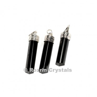 Black Tourmaline cap Pencil Pendant