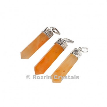 Peach  Aventurine cap Pencil Pendant