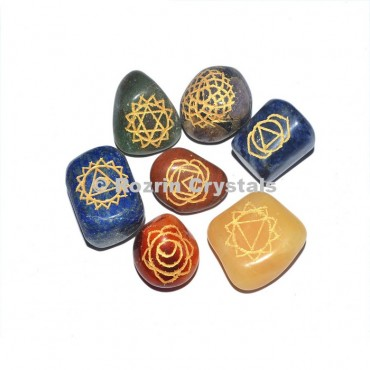 Engraved Chakra Tumbled set