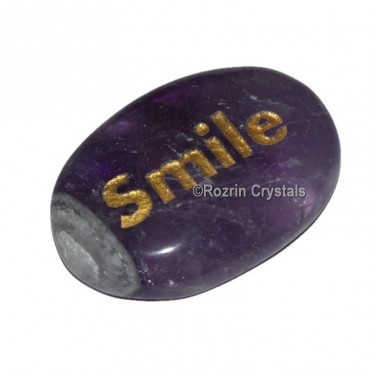 Amethyst Engraved Smile Word Healing Stone