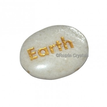 Moon Stone Engraved Earth Word Healing Stone