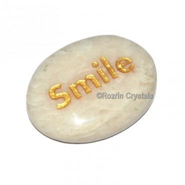 MoonStone Engraved Smile Word Healing Stone