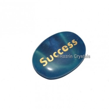 Blue Onyx Engraved Success Word Healing Stone