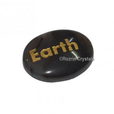 Black Onyx Engraved  Earth Word Healing Stone