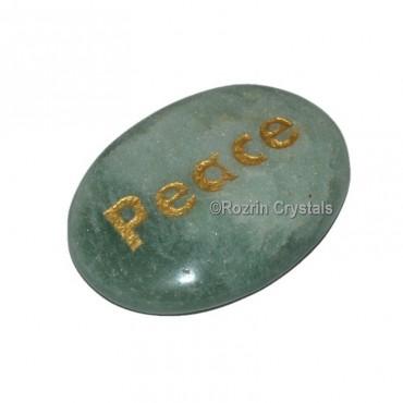 Green Aventurine Engraved Peace Word Healing Stone