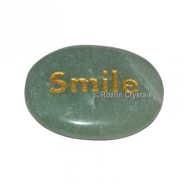 Green Aventurine Engraved Smile Word Healing Stone