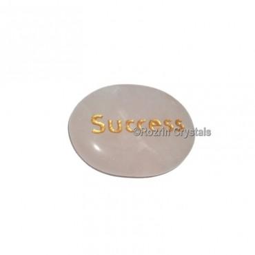 Rose Quartz Engraved Success Word Healing Stone