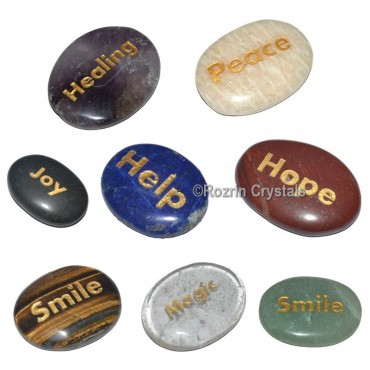 Mix Crystals Stone Engraved word Healing Stone