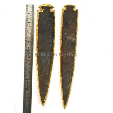 10 Inches Agate Arrowheads Electroplated