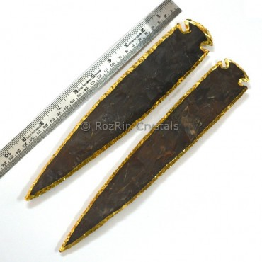 11 Inches Agate Arrowheads Electroplated