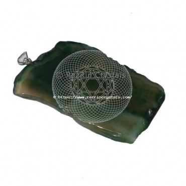 Engraved Jad green Slice Pendant