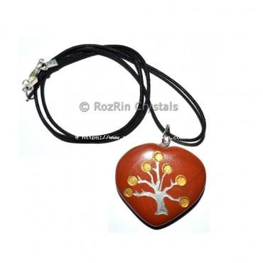 Red Jasper Gold Tree Pendant