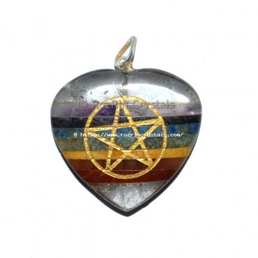 Chakra Bonded Pentagram Heart Pendant