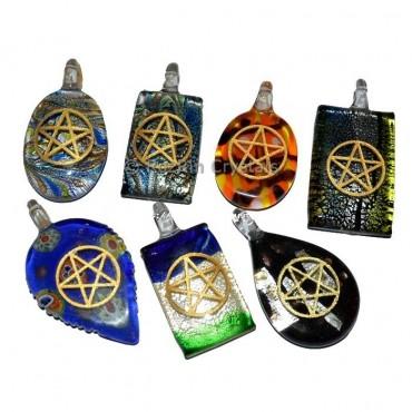 Pentagram Engraved Glass Pendant