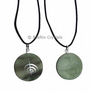 Engraved Green Aventurine Choko Reiki Pendant