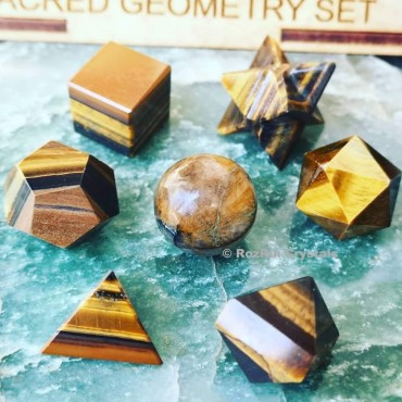 Yellow Tiger eye Sacred Geometry set