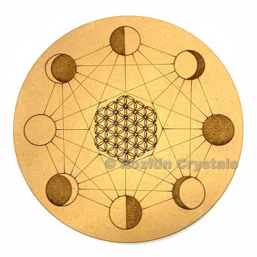 Moon Phase Flower of Life Crystal Grid