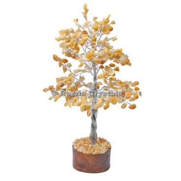 Golden Quartz Silver Wire 300 Chips Tree