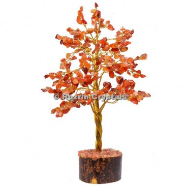 Red Carnelian Golden Wire 300 Chips Tree