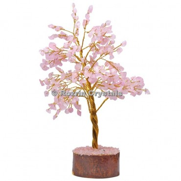 Rose Quartz Golden Wire 300 Chips Tree
