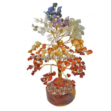 7 Chakra Golden Wire 300 Chips Tree
