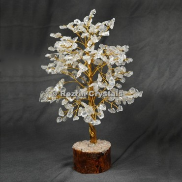 Crystal Quartz Golden Wire 300 Chips Tree